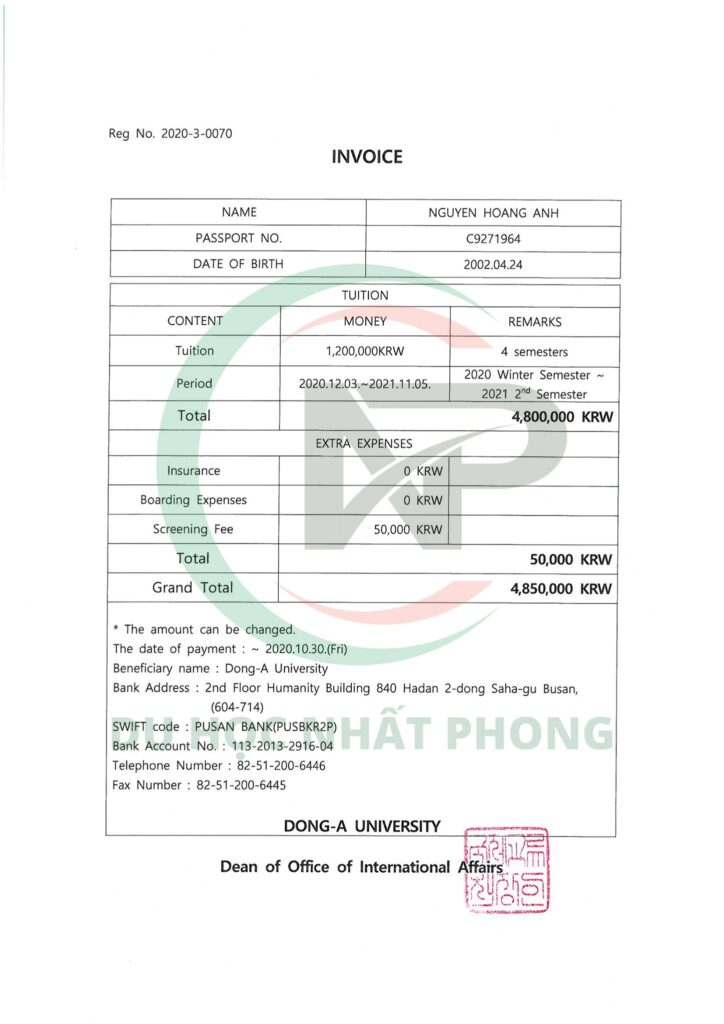 Invoice Đại học Dong A
