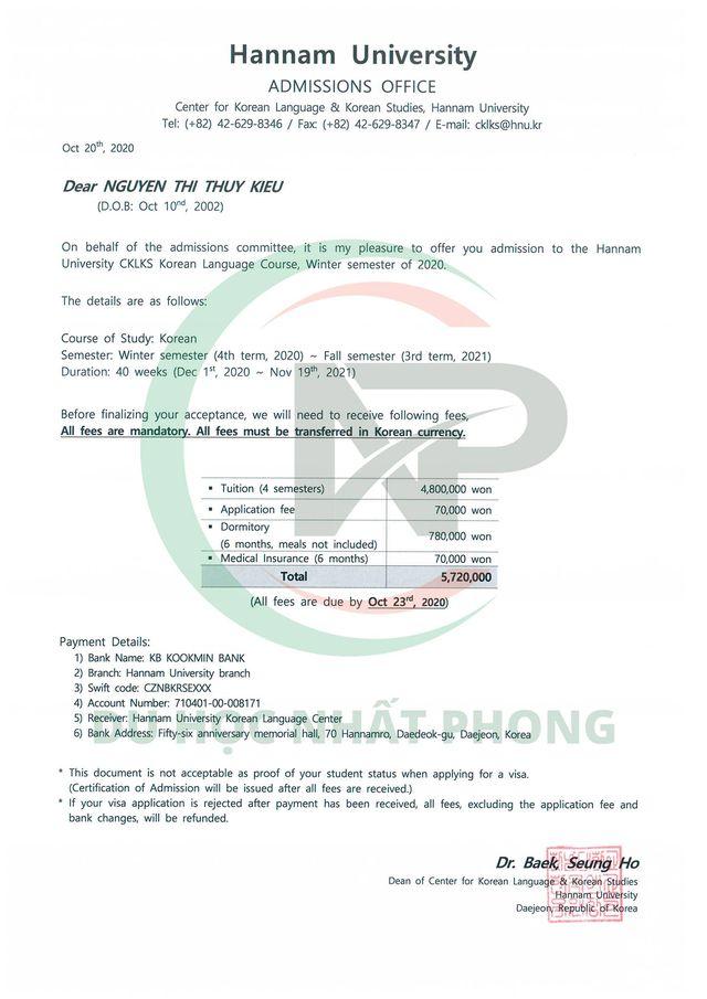 Invoice trường đại học Hannam